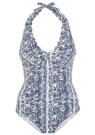 HEIDI KLEIN Kenya Scallop Button Halter One Piece - Snake Print