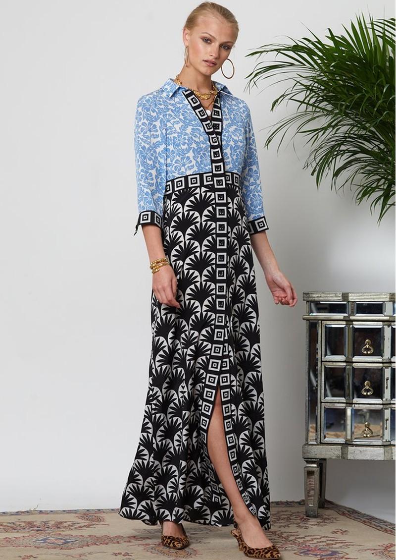 HAYLEY MENZIES Lou Lou Long Shirt Dress - Blue & Black main image