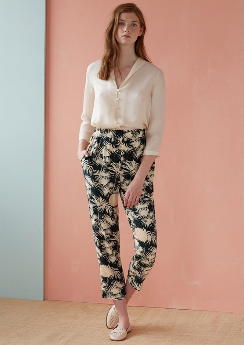 Des Petits Hauts  Tezys Printed Trousers - Emeraude main image