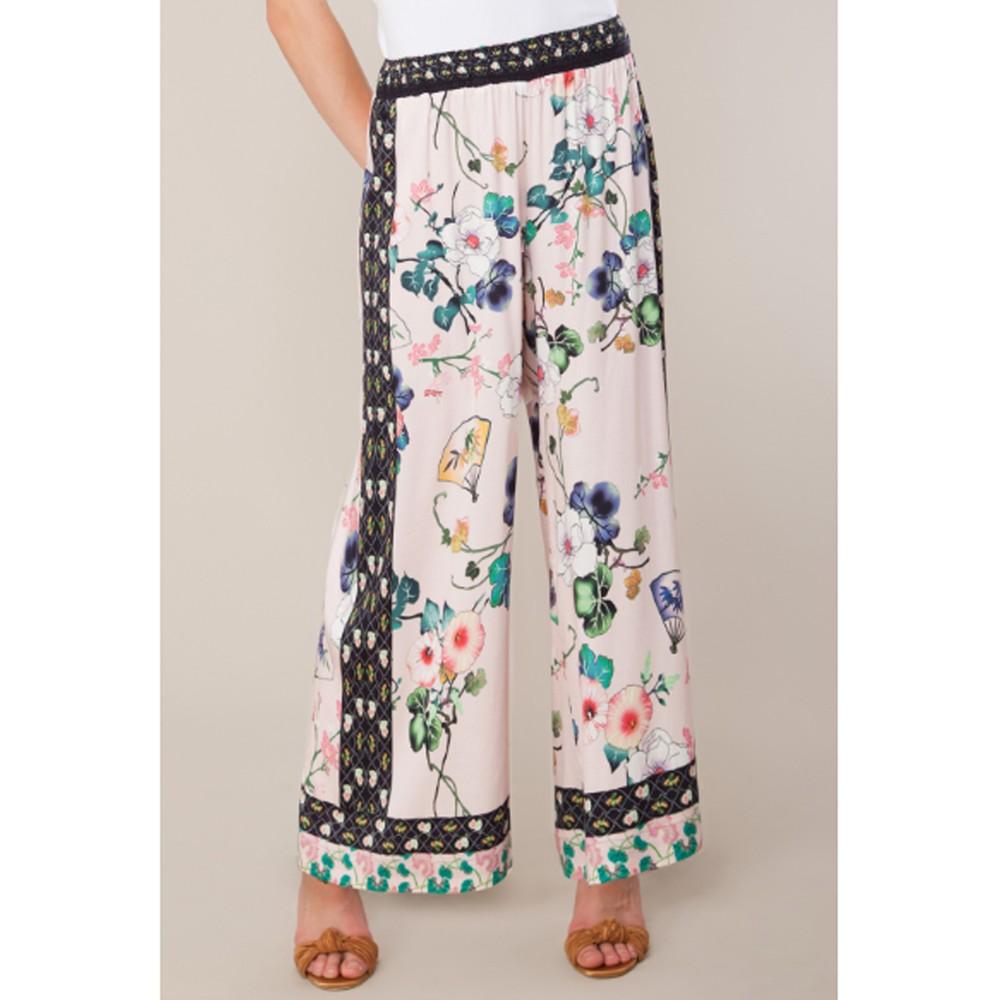 Xristina Wide Leg Stretch Satin Trousers - Blush