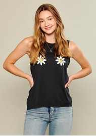SOUTH PARADE Whitney Daisy Tank - Smoke Black
