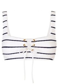 HEIDI KLEIN Dubrovnik Lace Up Square Neck Bikini - Blue & White