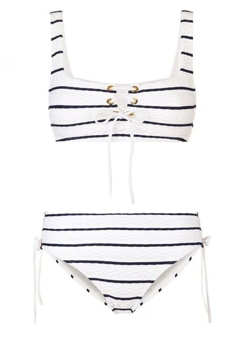 HEIDI KLEIN Dubrovnik Lace Up Square Neck Bikini - Blue & White main image