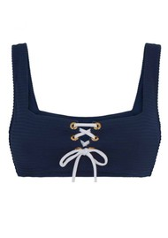 HEIDI KLEIN Carlisle Bay Lace Square Neck Top - Navy