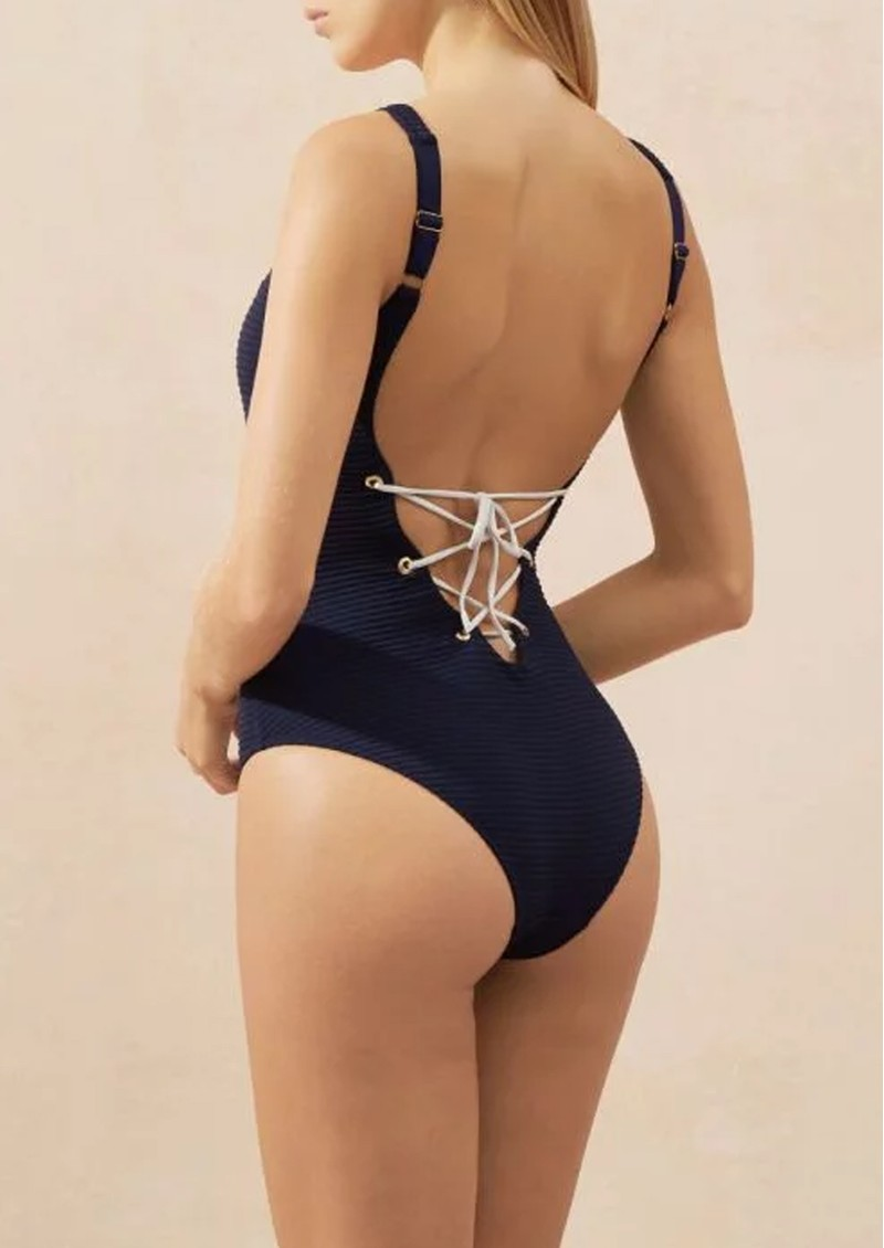 HEIDI KLEIN Carlisle Bay Lace Back One Piece - Navy  main image