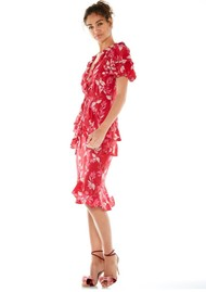 TALULAH Pollen Midi Dress - Red Leaf