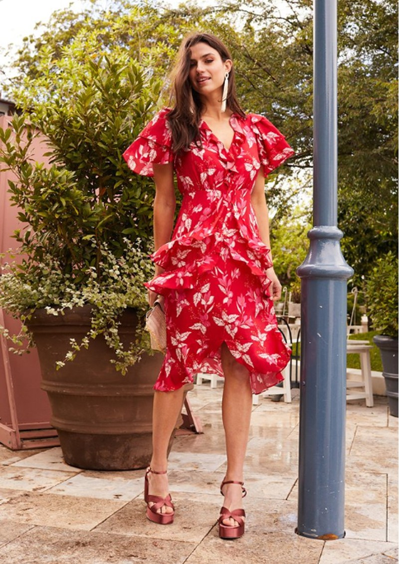TALULAH Pollen Midi Dress - Red Leaf main image
