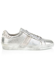 AIR & GRACE Cru Studded Metallic Trainers - Silver
