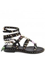 Ash Pax Studded Sandals with A Silk scarf - Black