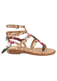 Ash Pax Studded Sandals with A Silk scarf - Rame