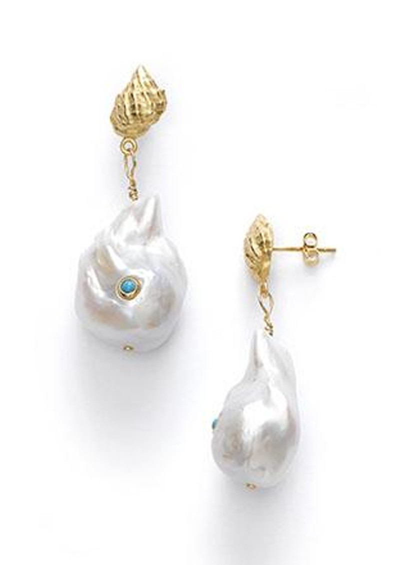 ANNI LU Baroque Pearl Shell Earrings - Turquoise main image