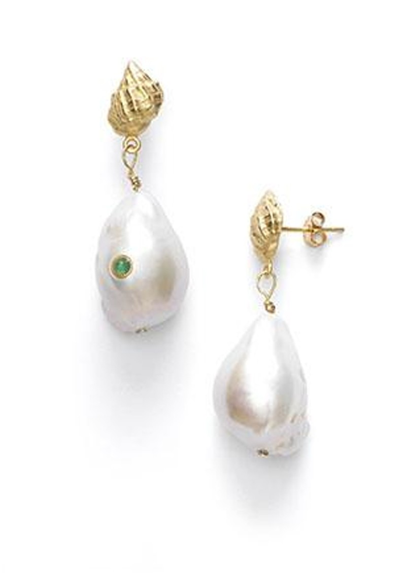 Baroque Pearl Shell Earrings - Green Agate main image