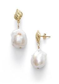 ANNI LU Baroque Pearl Shell Earrings - Coral