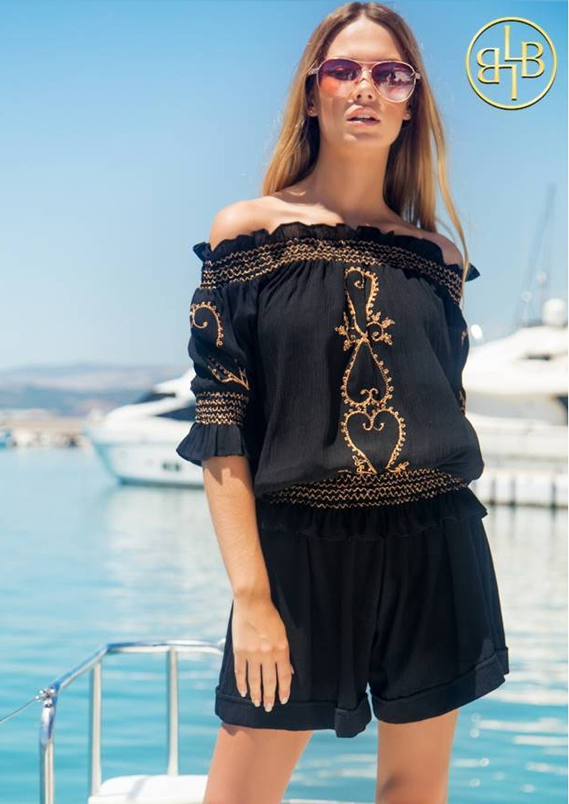 San Marino Embroidered Bardot Top - Black & Rose Gold main image