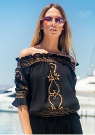 LINDSEY BROWN San Marino Embroidered Bardot Top - Black & Rose Gold