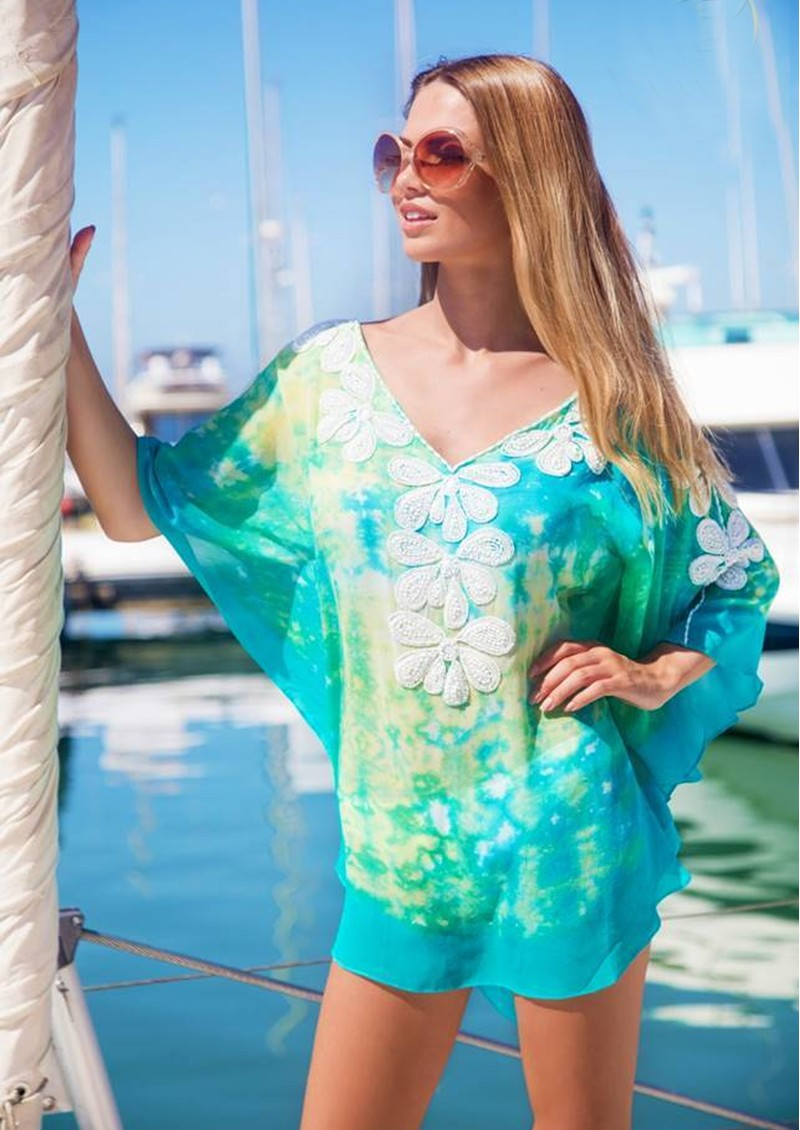 LINDSEY BROWN Rumba Silk Beaded Top - Turquoise & Lime main image
