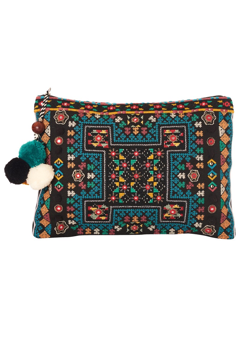 Star Mela Tasla Pom Pom Clutch - Black & Multi main image