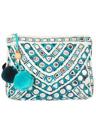 Star Mela Izna Mirror Clutch Bag - Ecru & Petrol
