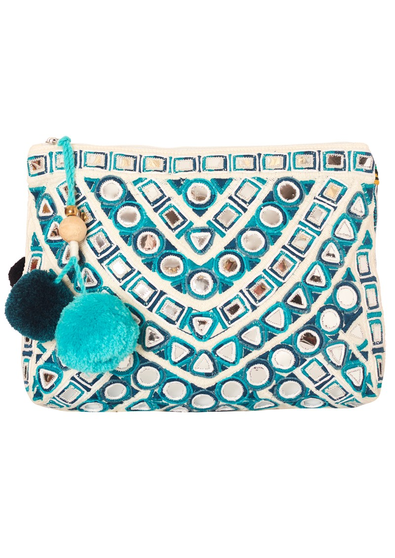 Star Mela Izna Mirror Clutch Bag - Ecru & Petrol main image
