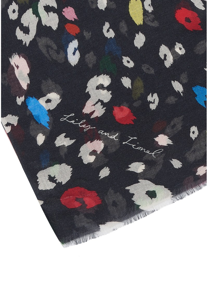 Lily and Lionel Exclusive Dancing Leopard Brights Scarf - Black main image