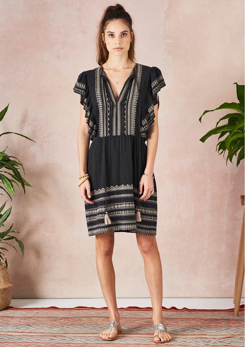 Star Mela Allie Embellished Frill Dress - Black main image