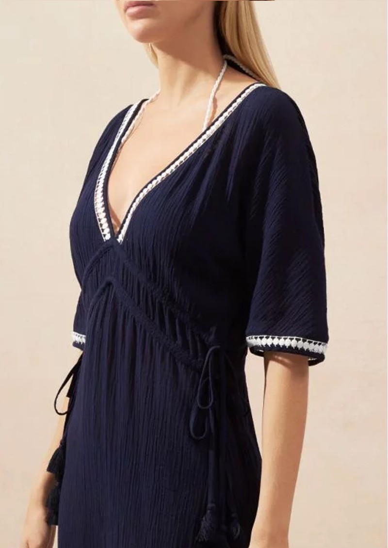 HEIDI KLEIN Carlisle Bay Lace Trim Maxi Dress - Navy main image