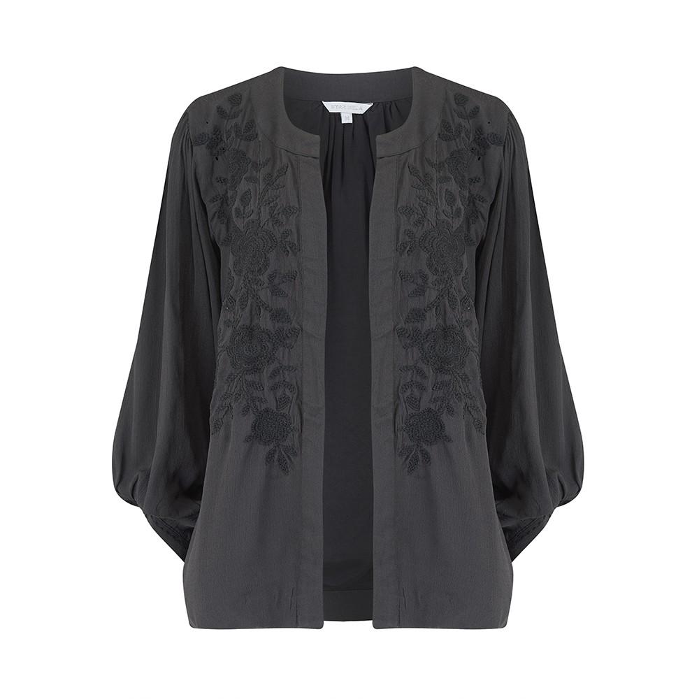 Alise Embroidered Jacket - Faded Black