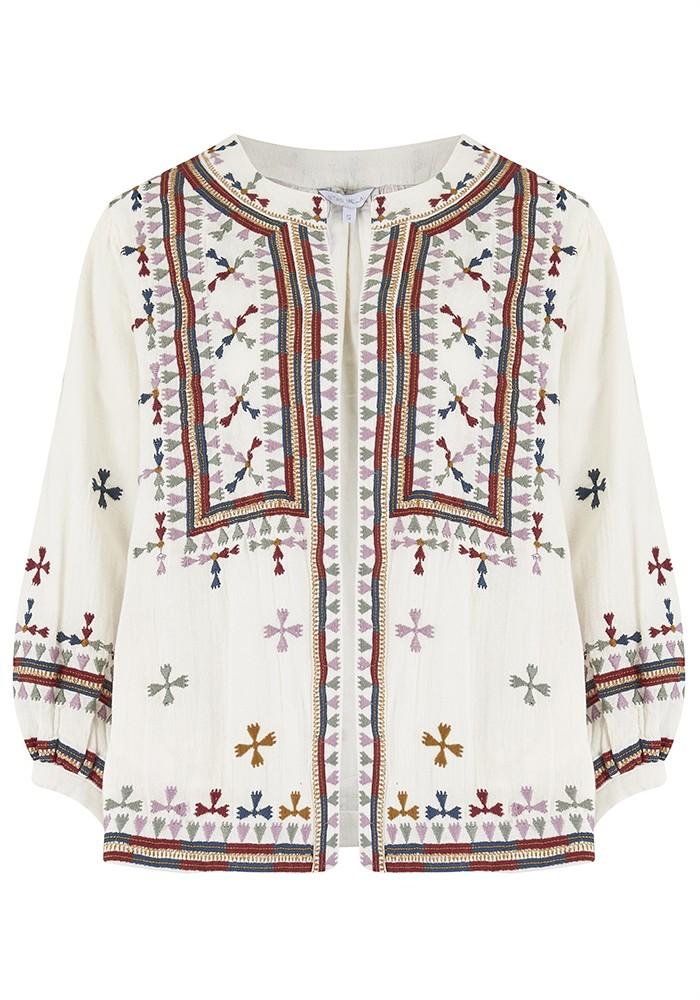 Star Mela Fabiana Embroidered Jacket - Ecru Multi main image