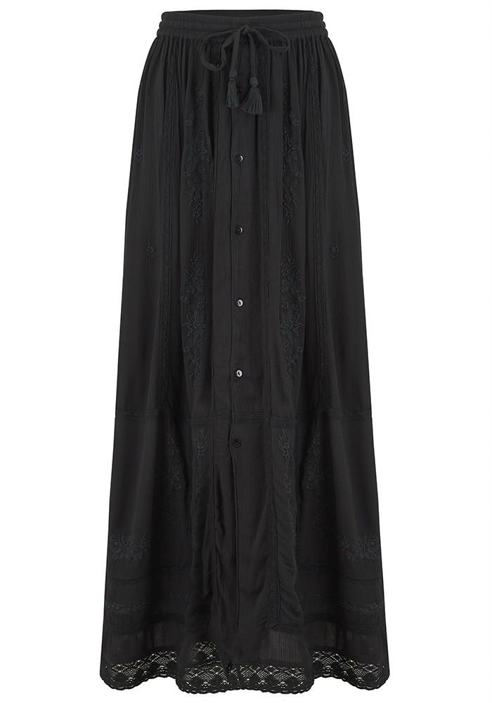 Star Mela Stella Embroidered Maxi Skirt - Faded Black main image