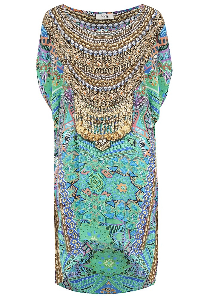 Hi Lo Embellished Tunic - Emerald  main image