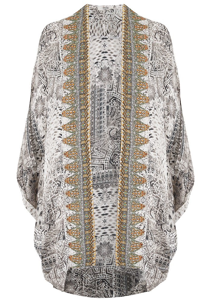 Short Silk Printed Shrug - Blanco Neve main image