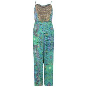 Printed Silk Jumpsuit - Emerald