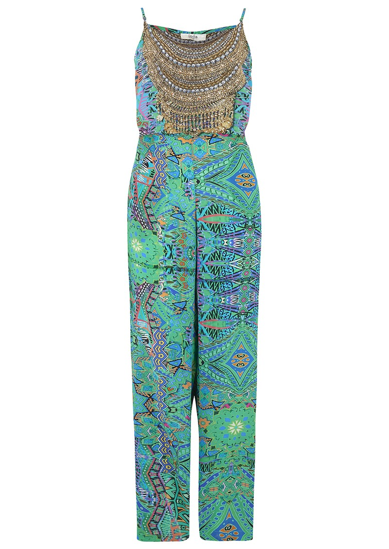 INOA Printed Silk Jumpsuit - Emerald main image