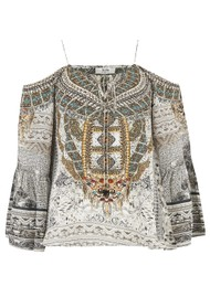 INOA Gypsy Silk Printed Top - Blanco Neve