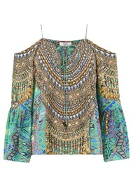 INOA Gypsy Silk Printed Top - Emerald