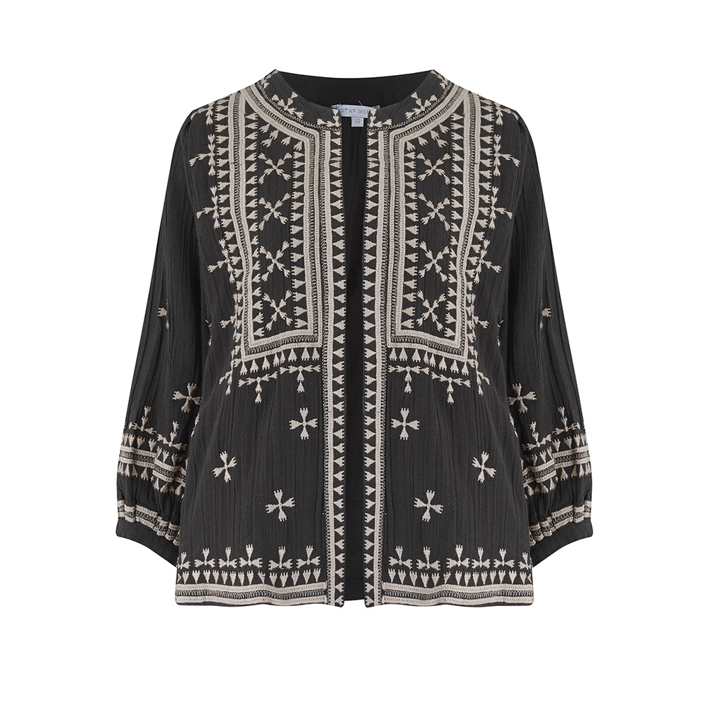 Fabiana Embroidered Jacket - Black Beige