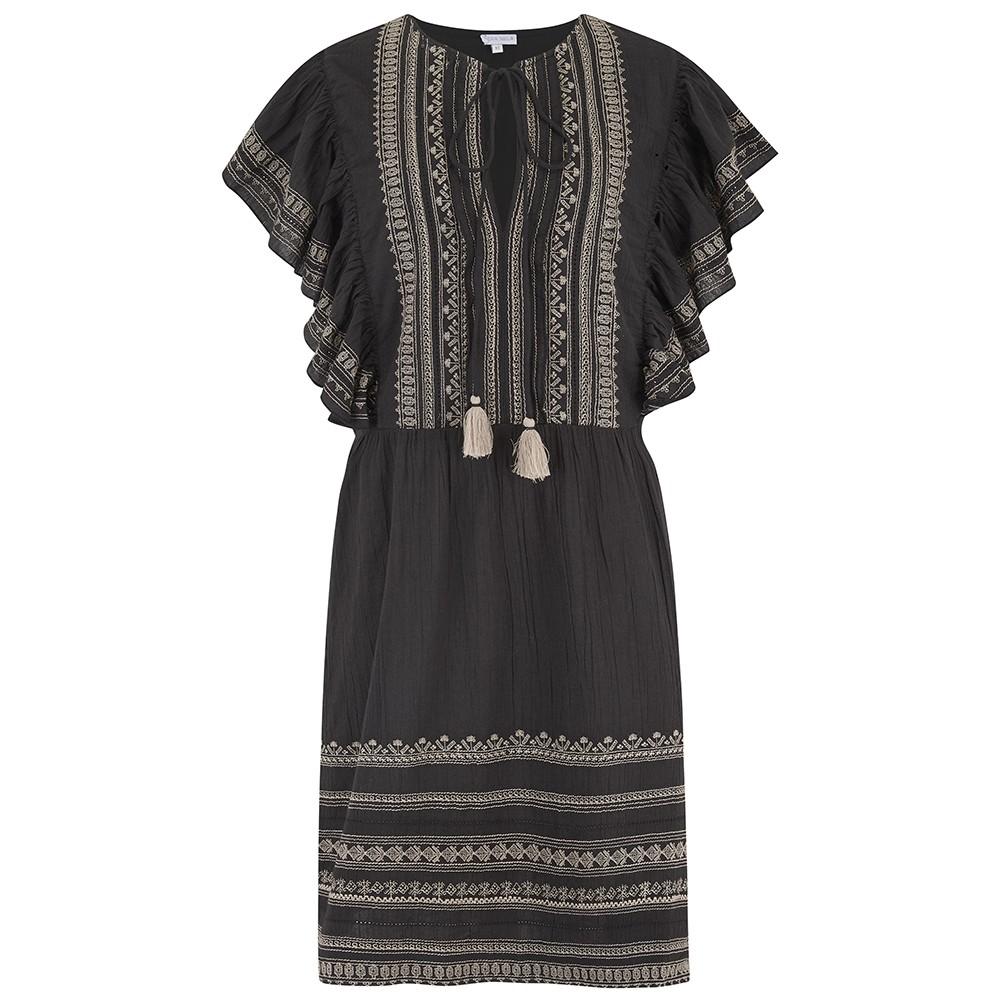 Allie Embellished Frill Dress - Black