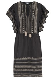 Star Mela Allie Embellished Frill Dress - Black