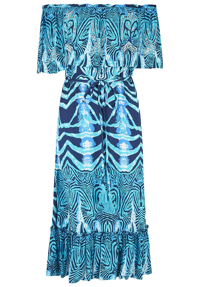 BEACH GOLD Pari Midi Dress - Ocean main image