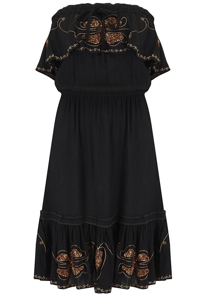 LINDSEY BROWN Atheni Bandeau Dress - Black & Rose Gold main image
