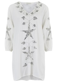 LINDSEY BROWN Monaco Sequin Kaftan Dress - White & Silver