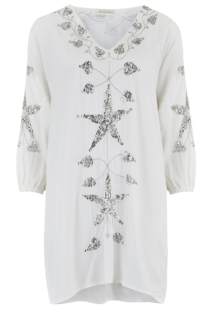 Monaco Sequin Kaftan Dress - White & Silver main image