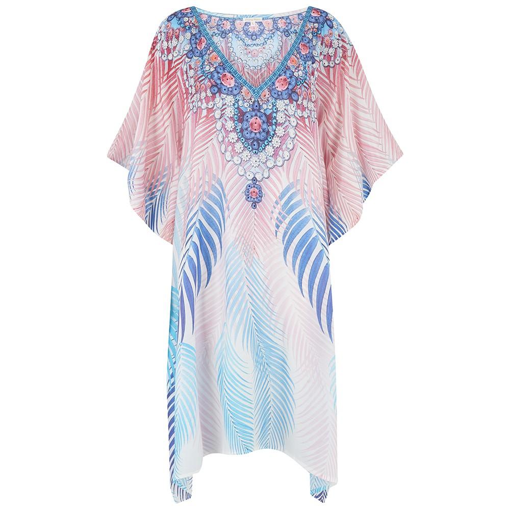 Laguna Printed Kaftan Dress - Palm