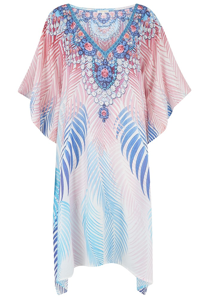 LINDSEY BROWN Laguna Printed Kaftan Dress - Palm main image