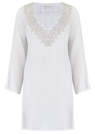 LINDSEY BROWN Palma Silk Kaftan - Ice White