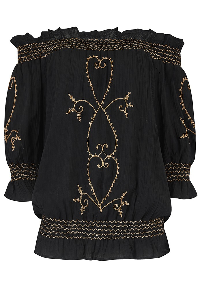 LINDSEY BROWN San Marino Embroidered Bardot Top - Black & Rose Gold main image