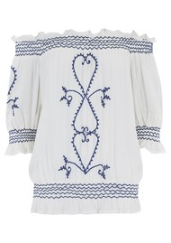 LINDSEY BROWN San Marino Embroidered Bardot Top - White & Navy