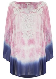 LINDSEY BROWN Rumba Silk Beaded Top - Pink & Indigo