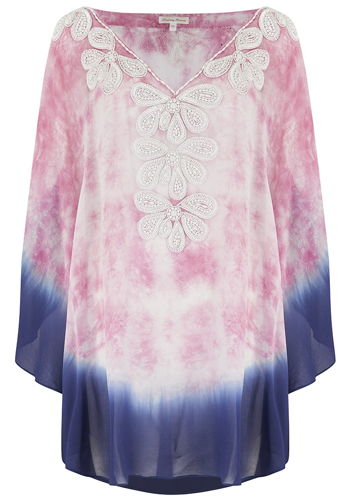 LINDSEY BROWN Rumba Silk Beaded Top - Pink & Indigo main image