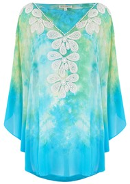 LINDSEY BROWN Rumba Silk Beaded Top - Turquoise & Lime